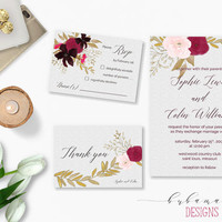 Burgundy Pink Flowers Wedding Invitation Printable Floral Wedding Suite Boho Digital Invitation Set Red Flowers Wedding Invite - WI007