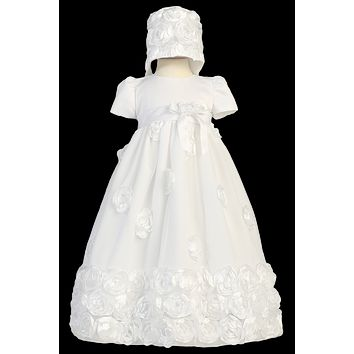 Satin Ribbon Flowers on Tulle Skirting & Bonnet Christening Gown (Baby Girls Newborn - 18 months)