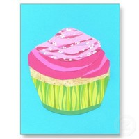 Girly Pink Cupcake Postcards from Zazzle.com