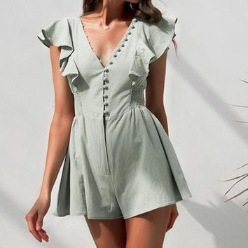 Colette Button-Down Ruffle Romper