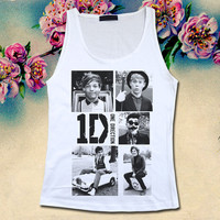 ONE DIRECTION - 1D One Thing Funny Moment - Womens Tank Top Printed White T Shirt Boy Band Fan Light and Soft