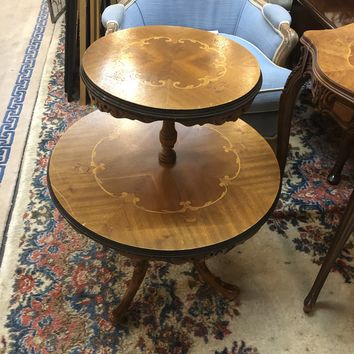Vintage Carved Wooden Double Tier Round Side Table