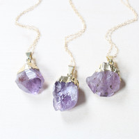 Gold Raw Amethyst Crystal Necklace