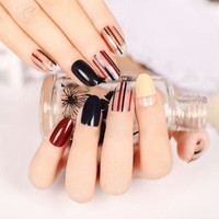 24pcs Artificial Tips False Nails Tips Fake Nail Simply Beauty Classic Black Red Golden Clear Stripe Round Head Z102