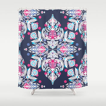 Pastel Folk Art Pattern in soft navy, pink, mauve & white Shower Curtain by micklyn