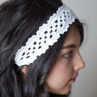Crochet Headband, Crochet Hair Accessories, Crochet Headpiece, White Headband, Crochet Hair Tie, Bridesmaid Hair Accessories,