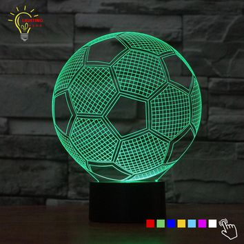 LED 3D Football Lamp With 7 Changable Colors