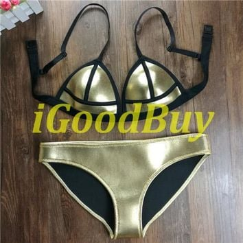 Bikini Set beach body 2017 Gold Color Shining Women Neoprene  Brand NEOPRENE  Swimsuit Push Up Bathing Suit Pu Leather Swimwear
