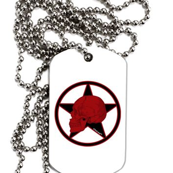 Blood Red Skull Adult Dog Tag Chain Necklace by TooLoud