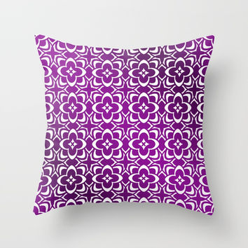 Diamond Floral Organic Geometric Pattern Shine & Shadow (Violet, Purple) Throw Pillow by AEJ Design
