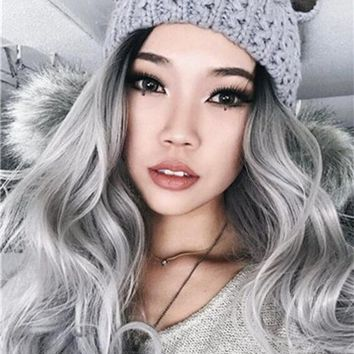 Grey Wave Synthetic Lace Front Wig
