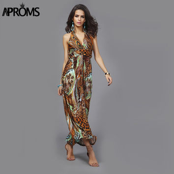 Elegant Colourful Peacock Floral Print Long Maxi Dress Casual Halter Neck Sleeveless Beach Dresses Big Size Vestido de festa