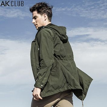 AK CLUB Brand Trench Coat Vintage Military Style Jacket M51 Trench Coat Hooded Baggy Waterproof Coat Men Jacket Trench 1604077