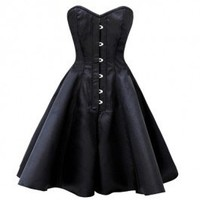 GC-1033 - Black Satin Style Flared Corset Dress