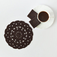 Chocolate brown crochet doily, cotton crocheted tea napkins, eco friendly drink coasters, home decor, wedding gift