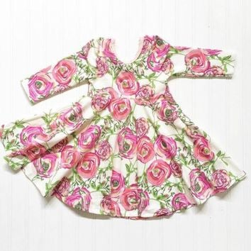 Toddler and Little Girl Long Sleeved Floral Rose Party Dress.    In Sizes 2T, 3T, 4T and 5.    ***FREE SHIPPING***