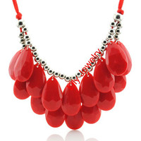 Red Bubble Statement Necklace Bubble Bib Necklace Bib Collar Necklace Jewelry