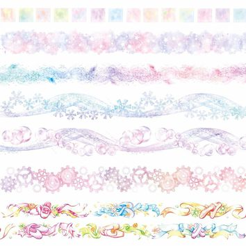 7Designs Snowflakes/Rainbow/Flowers/Lace/Gears/Cloud/Sky Japanese Washi Decorative Adhesive DIY Masking Paper Tape Sticker Label