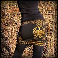 Honeycomb Bee Mini Skirt ~ Geometric Sacred Geometry Hexagon ~ stretchy yoga mini festival style ~ original art screen print silk screen