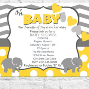 Printable Baby Shower Invitation Gender Neutral Yellow and Gray Chevron Polka Dot Hearts Digital File DIY Download