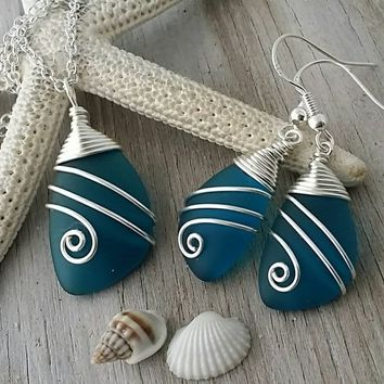 Handmade in Hawaii, Wire wrapped teal blue sea glass necklace + earrings jewelry set, Sterling silver chain, Beach jewelry gift.