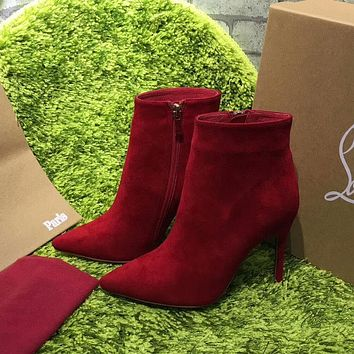 Best Online Sale Christian Louboutin CL Top Suede Ankle Boot Red