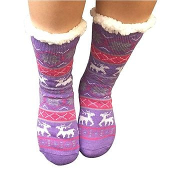Slipper Socks, Women Fleece Socks Wool Non Slip Socks Sherpa Thick Christmas Socks with grippers Warm Winter Women Girls Mid Calf High Sleep Socks