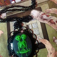 "Green Skull Siamese Twins Zombie Babies Black Goth 29"" Necklace"