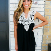 Barcelona Crochet Neck Sleeveless Black Sundress
