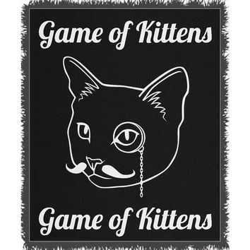 Cat Blanket for People Woven Throw Game of Kittens 100% Cotton 60x80 inch EKQ