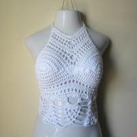 CROCHET HALTER TOP, cropped top Crochet high neck halter top, festival top, beachcover boho chic, summer top, pineapple edges,White cotton