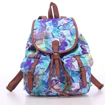 Blue Butterfly Travel Bag Canvas Lightweight Backpack