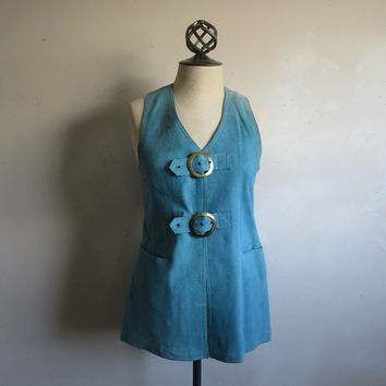 Vintage 60s Hippie Suede Vest 1960s Light Blue Suede Rocker Gypsy Festival Brass Buckle Top Small