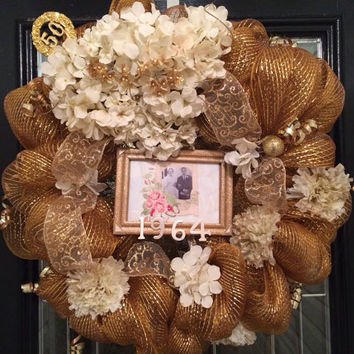 50th Anniversary Wreath, door hanger, decoration
