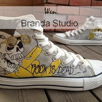 rock style skull design studio hand painted shoes 51 99usd paint on custom converse s