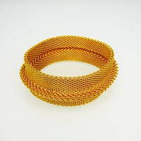 Wide Bangle Mesh Bracelet Gold Tone with Raised Band Around Center, Retro Jewelry Vintag 1980s 1990s Modernist Style