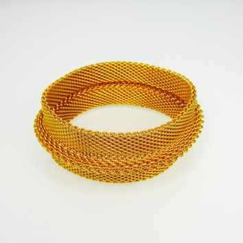 Wide Bangle Mesh Bracelet Gold Tone with Raised Band Around Cent 1493a17f4