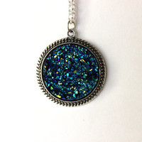 Faux Blue and Black Druzy Pendant Necklace in Silver, Blue Druzy Necklace, Druzy Silver Necklace, Large Druzy Necklace, Druzy Pendant