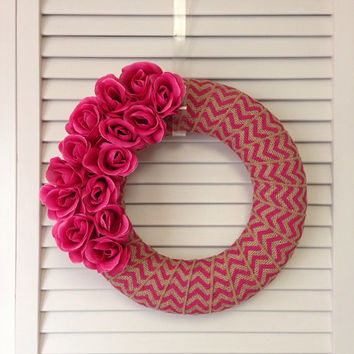 Spring Wreath, Pink Wreath, Rose Wreath, Chevron Wreath, Modern Wreath, Wreath for All Year, Burlap Wreath, Small Wreath, Contemporary Decor