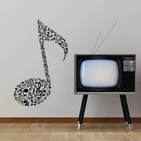 Wall Decal Vinyl Sticker Decals Art Home Decor Mural Note Musical Notes Waves Music Recording Studio Treble Clef Floral Patterns AN429