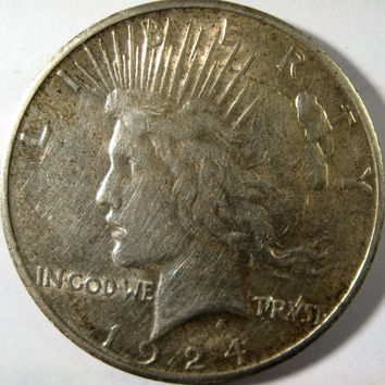 1924 Vintage Peace Dollar, Silver Dollar Coin, Collectible Coin, Circulated Coin, Silver Coin, Vintage Silver Coin, Liberty Coin, Old Dollar