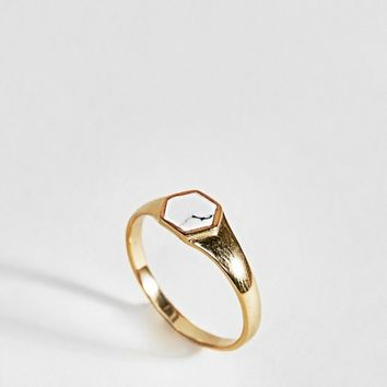 ASOS DESIGN Gold Plated Sterling Silver Faux Marble Stone Sovereign Ring at asos.com