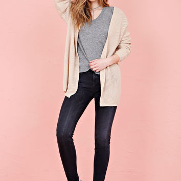 Laced Up Cardigan - Beige