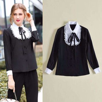 Euro Style Turn-Dowm Collar Lace Black White Panelled 100% Silk Blouse Women Long Sleeve All Match Temperament Shirt