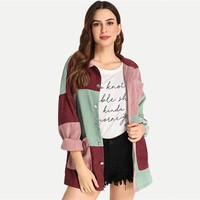 Multicolor Elegant Modern Lady Cut and Sew Pocket Front Buttoned Coat Weekend Casual Women Coat And Outerwear