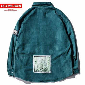 Trendy Aelfric Eden Oversize Pilot Pockets Corduroy Jackets Coats Men Jacket 2018 Winter Vintage Retro College Bomber Windbreaker Et06 AT_94_13