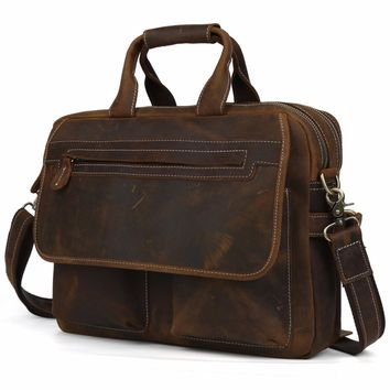"TIDING Fashion Designer Handbags High Quality Leather Brown Leather Briefcase Portfolio Men 15.6"" laptop Office Bags 2952"