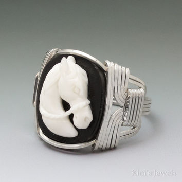 Carved Bone (bovine) Horse Cameo Sterling Silver Wire Wrapped Ring