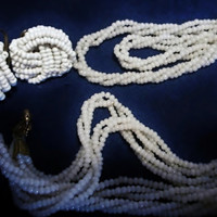 Flapper Length, White Seed Bead Necklace, Earrings, 50 inch long necklace, 1930's Glass Seed Bead Torsade, Screw Back Earrings, Estate Items