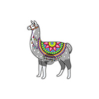 Llama Sticker - Colorful Alpaca Bumper Sticker Laptop Decal Car Decal Multicolor Cute Boho Hippie Llama Animal Sticker Art